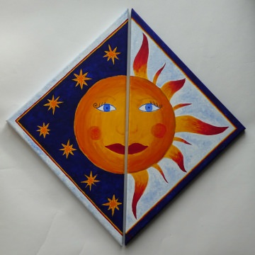 Malerei Acrylgemälde ☀ Sonne & Mond ☀ auf Keilrahmen 57 x 28 cm