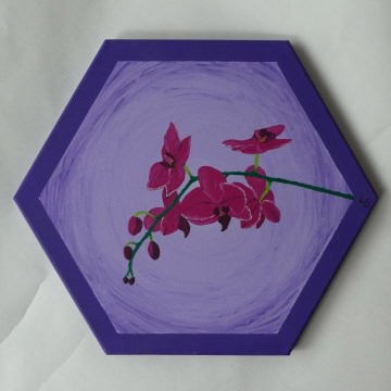Acrylmalerei Orchidee ♡ auf Keilrahmen Sechseck ♡ Einzelstück