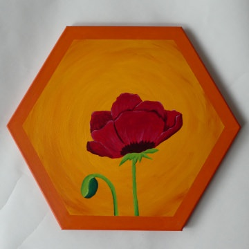 Acrylmalerei Mohnblume ♡ auf Keilrahmen Sechseck ♡ Einzelstück