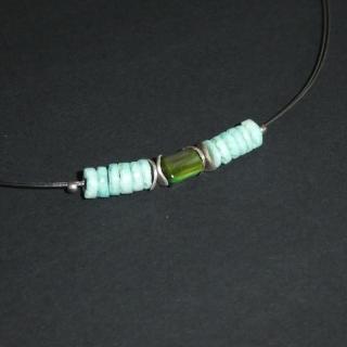 Perlenkette mit grünen Perlen ♡ Länge ca. 46 cm ♡ Schmuck