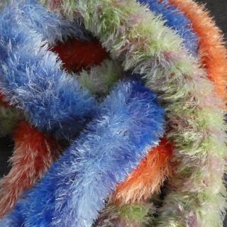 3 kuschelige Schals ♡ blau, orange und grün/rosa