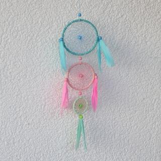 Farbenfroher Traumfänger ♡ blau, rosa, grün ♡ ca. 40 cm