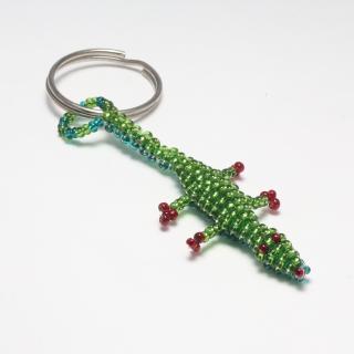 Schlüsselanhänger Anhänger Perlen ♡ Krokodil/Echse ♡ grün, ca. 9 cm