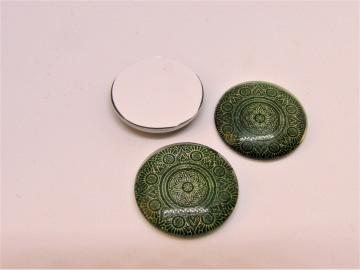 Glas Cabochon 20mm Klebefläche Mandala grün