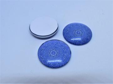 Glas Cabochon 20mm Klebefläche Mandala blau