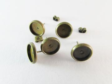 Ohrsteckerrohling antique bronze 8mm Klebefläche