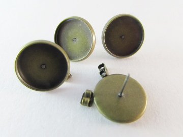 Ohrsteckerrohling antique bronze 14mm Klebefläche