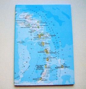 KARIBIK Kleine Antillen ♥ schönes Notizbuch Landkarte *vintage*