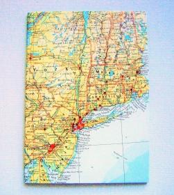 NEW YORK Amerika ♥ schönes Notizbuch Landkarte *vintage*