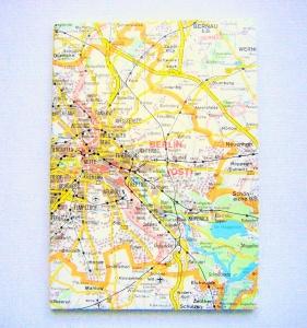 BERLIN tolle Hauptstadt ♥ schönes Notizbuch Landkarte *vintage* - Handarbeit kaufen