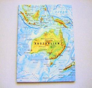 AUSTRALIEN mit Neuseeland ♥ schönes Notizbuch Landkarte *upcycling*  - Handarbeit kaufen