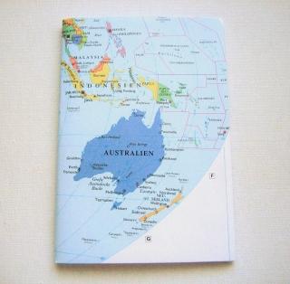 AUSTRALIEN mit Neuseeland ♥ schönes Notizbuch Landkarte *vintage*