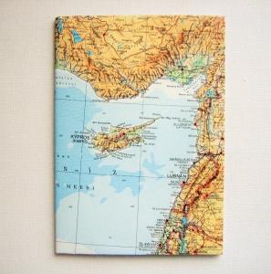 ZYPERN Larnaca ♥ schönes Notizbuch Landkarte *upcycling*