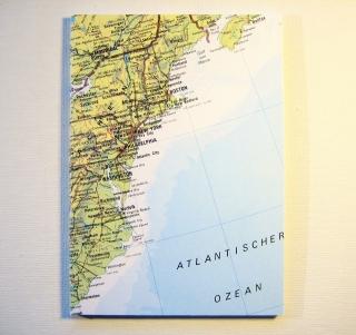 NEW YORK Ostküste Amerika ♥ schönes Notizbuch Landkarte *upcycling*