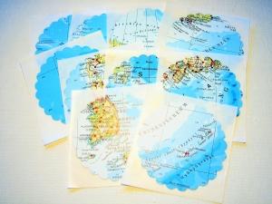 Aufkleber ♥ LANDKARTE rund * upcycling pur * Sticker / Etiketten