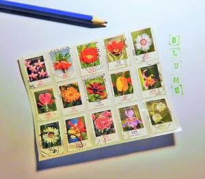 Aufkleber ♥ BRIEFMARKEN Blumen * upcycling pur * Sticker / Etiketten