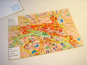 Tolle Postkarte PARIS Stadtplan ♥ Die Stadt der Liebe ♥ *upcycling pur*