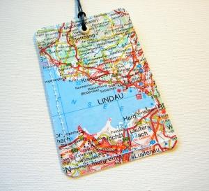 Kofferanhänger LINDAU ♥ Bodensee Landkarte *upcycling* - Handarbeit kaufen