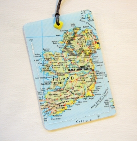 Kofferanhänger IRLAND ♥ Dublin Landkarte *upcycling* - Handarbeit kaufen