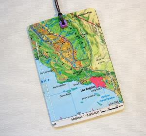 Kofferanhänger LOS ANGELES ♥ Amerika Landkarte *upcycling* - Handarbeit kaufen