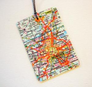 Kofferanhänger MÜNCHEN ♥ Deutschland Landkarte *upcycling* - Handarbeit kaufen