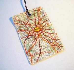 Kofferanhänger PARIS ♥ EIFFELTURM Landkarte *upcycling*