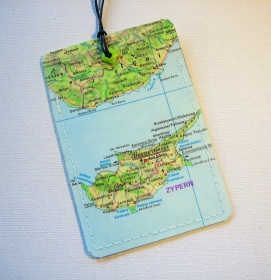 Kofferanhänger ZYPERN ♥ Nikosia  Landkarte *upcycling* - Handarbeit kaufen