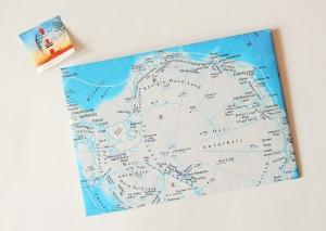 ANTARKTIS Südpol ♥ toller Briefumschlag Landkarte *upcycling* - Handarbeit kaufen