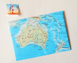 AUSTRALIEN Tasmanien ♥ toller Briefumschlag Landkarte *upcycling* - Handarbeit kaufen