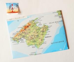 MALLORCA Balearen ♥ toller Briefumschlag Landkarte *upcycling* - Handarbeit kaufen
