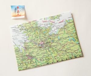 HAMBURG und Umgebung ♥ toller Briefumschlag Landkarte *upcycling*