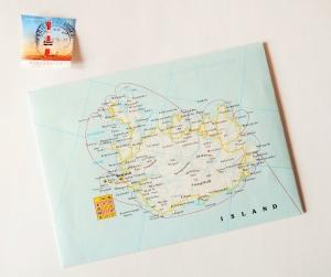 ISLAND Reykjavik ♥ toller Briefumschlag Landkarte *upcycling*