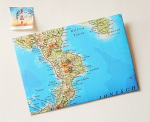 ITALIEN Stiefel ♥ toller Briefumschlag Landkarte *upcycling*