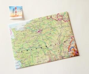 PARIS Frankreich ♥ toller Briefumschlag Landkarte *upcycling*