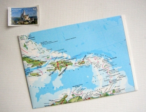 KARIBIK Antillen ♥ toller Briefumschlag Landkarte *upcycling*