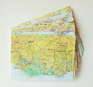 10er-Set Briefumschläge DIE WELT ♥ Landkarte *upcycling*