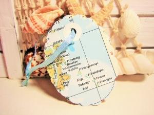 10er-Set Geschenkanhänger OVAL ♥ Landkarte *upcycling pur*