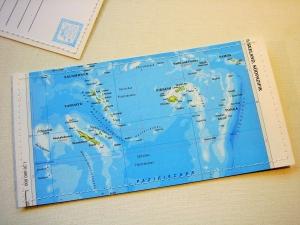 Tolle Postkarte FIDSCHI ♥ Südsee Landkarte *upcycling pur* DIN lang - Handarbeit kaufen