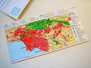 Tolle Postkarte LOS ANGELES ♥ Amerika Landkarte *upcycling pur* DIN lang - Handarbeit kaufen