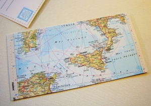Tolle Postkarte SIZILIEN ♥ Palermo Landkarte *upcycling pur* DIN lang