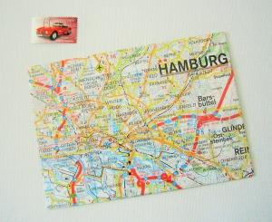 HAMBURG Stadtplan ♥ toller Briefumschlag Landkarte *upcycling*