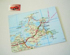 Tolle Postkarte RÜGEN ♥ Ostsee *upcycling pur* - Handarbeit kaufen