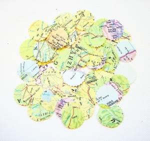 Weltkarten KONFETTI ♥ Stanzteile Kreis Edition *Landkarte*