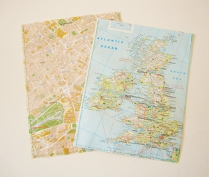 2er-Set Geschenktüte LANDKARTE ♥ ENGLAND London *upcycling*