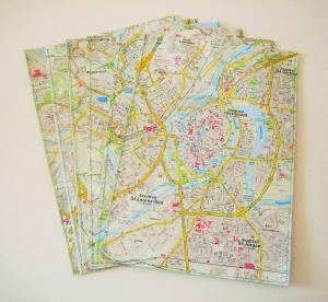6er-Set Geschenktüte LANDKARTE ♥  *upcycling* Stadtplan