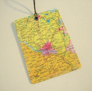 Kofferanhänger HAMBURG ♥ Elbe Landkarte *upcycling*