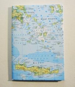 GRIECHENLAND Kreta ♥ schönes Notizbuch Landkarte *vintage* - Handarbeit kaufen