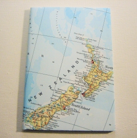 NEUSEELAND Auckland ♥ schönes Notizbuch Landkarte *upcycling*