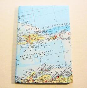 KARIBIK Dominikanische Republik ♥ schönes Notizbuch Landkarte *upcycling*  - Handarbeit kaufen
