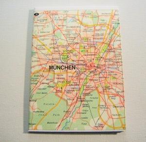 MÜNCHEN - HAMBURG ♥ schönes Notizbuch Landkarte *upcycling* - Handarbeit kaufen